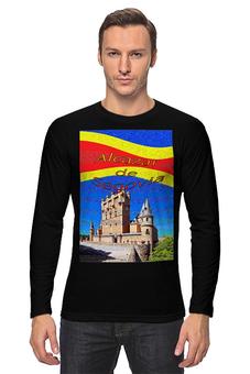 """Лонгслив """"Замки Испании. Замок Сеговия."""" - желтый, испания, замок, полоски, крепость"""