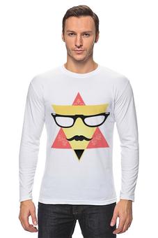 """Лонгслив """" Triangular Face"""" - лицо, очки, треугольник, фигуры, усы"""