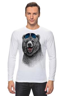 """Лонгслив """"Позитивный медведь"""" - bear, медведь, animal, солнечные очки, арт дизайн"""