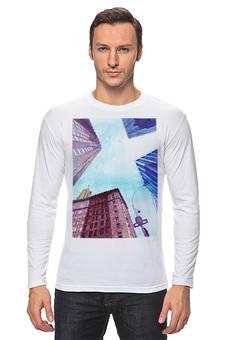 """Лонгслив """"Небоскребы II"""" - город, нью йорк, небоскребы, небо, синий"""