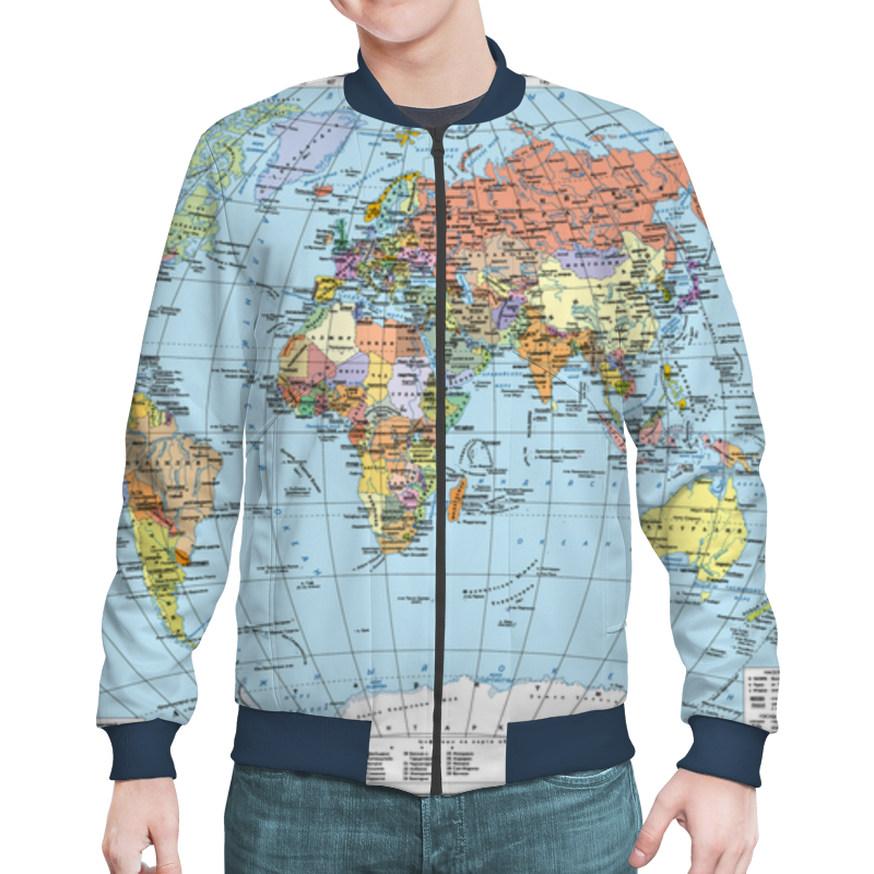 Бомбер Printio Карта мира политическая карта мира физическая карта мира ng a1