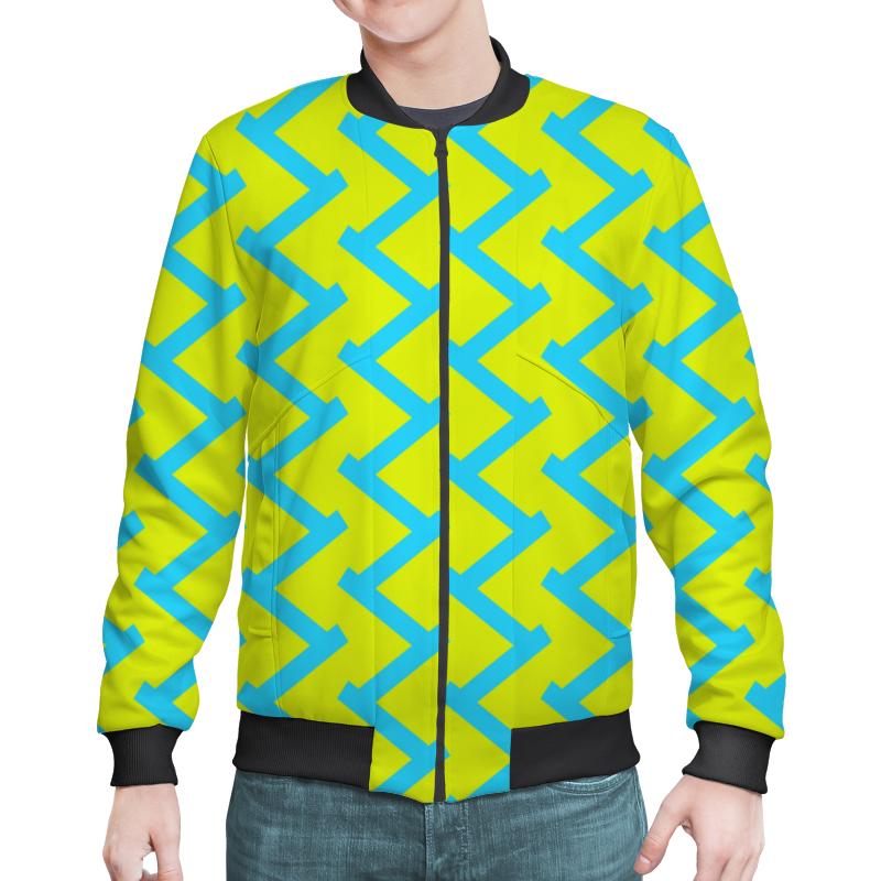 Бомбер Printio Желто-голубой узор верхняя одежда acoola куртка для девочек бомбер с нашивками цвет голубой размер 98 20220130119