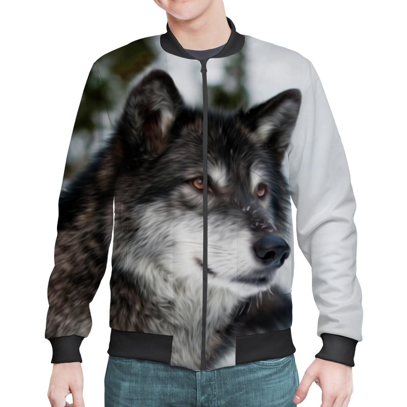 Бомбер Printio Серый волк сувенир волк