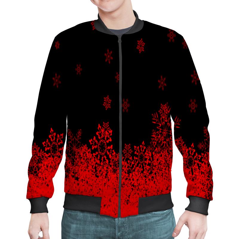 Бомбер Printio Красные снежинки