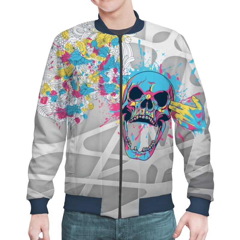 Бомбер Printio Abstraction skull 3d skull 3d printed long sleeve round neck sweatshirt