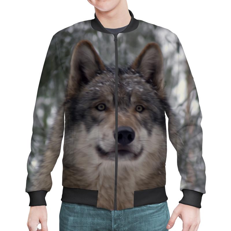 Бомбер Printio Волк  лесу