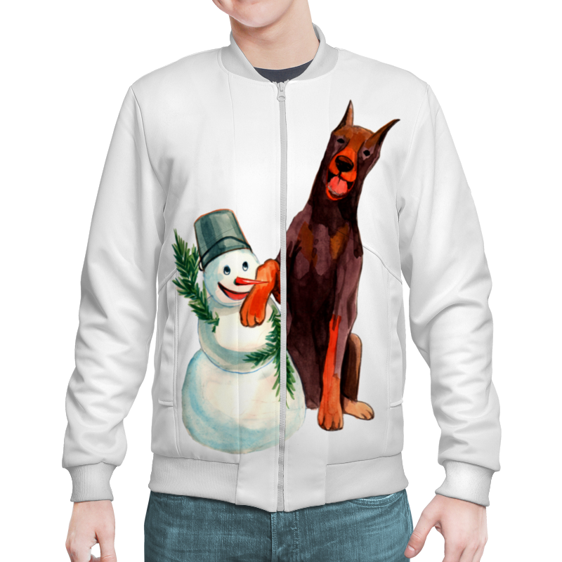 Бомбер Printio Забавная акварельная собака, символ 2018 года
