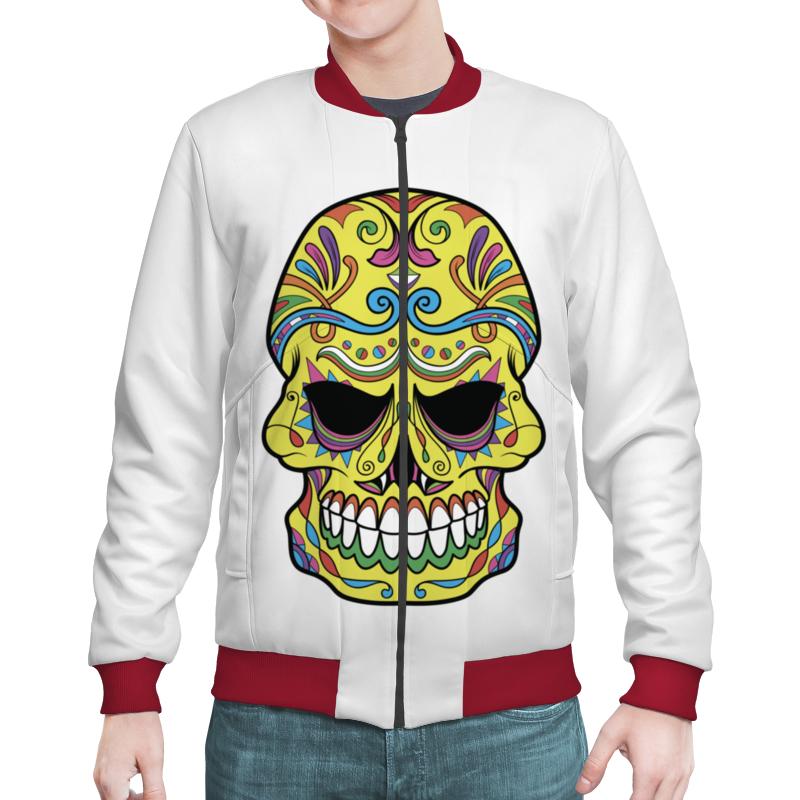 Бомбер Printio Skull fashionable punk style skull pendant necklace