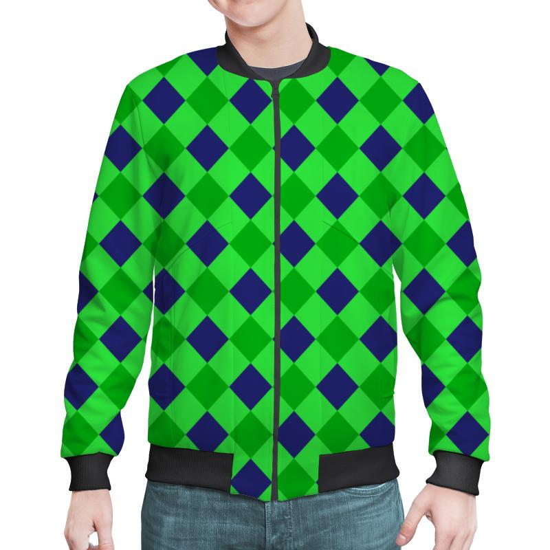 Бомбер Printio Сине-зеленые квадраты зеленые цепочки