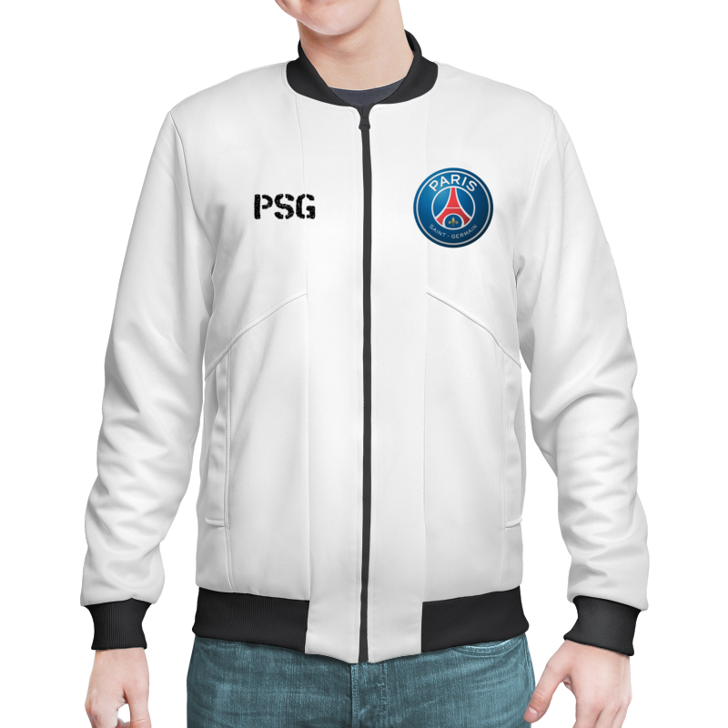 0f54f315 Бомбер — цвет: ЧЁРНЫЙ, пол: МУЖ. Классический бомбер с логотипом Пари  Сен-Жермен и текстом PSG.