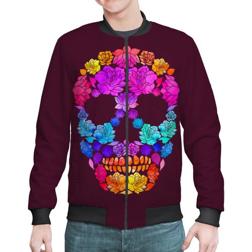 """Бомбер """"Skull Art"""" - skull, череп, цветы, черепа, skulls"""