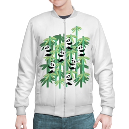 "Бомбер ""Жизнь панд"" - смешные, узор, панда, лес, бамбук"