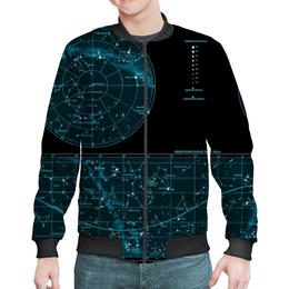 "Бомбер ""Карта звёздного неба"" - карта, дизайн, звёзды"