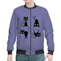 """Бомбер мужской """"Кошки 7"""" - рисунок, кошки, зелёные глаза, чёрная кошка"""