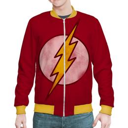 "Бомбер мужской ""Флэш (Flash)"" - flash, комиксы, молния, вспышка, флэш"
