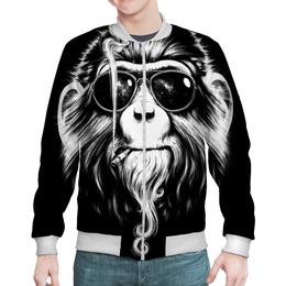 """Бомбер """"Курящая обезьяна"""" - очки, обезьяна, дым, сигарета, смог"""