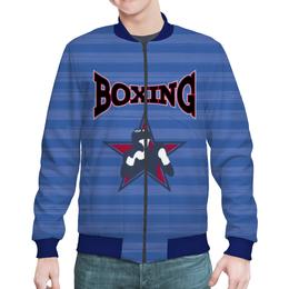"Бомбер мужской ""Боксер"" - звезда, надпись, полоска, бокс, боксер"