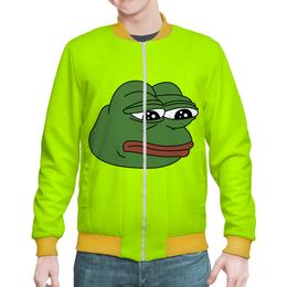 "Бомбер ""Грустная лягушка"" - мем, meme, грустная лягушка, sad frog, pepe frog"