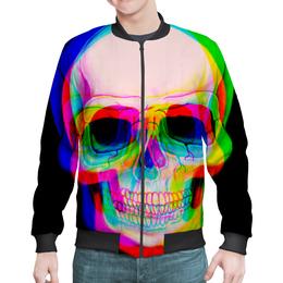 """Бомбер мужской """"Череп"""" - skull, череп, радуга, абстракция, 3d"""