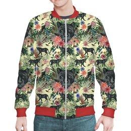 """Бомбер """"Flora & Panther Design (day)"""" - цветы, абстракция, растения, флора, черная пантера"""