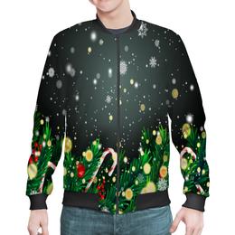 "Бомбер ""Падающий снег"" - новый год, игрушки, подарки, снежинки, елка"