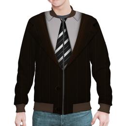 """Бомбер мужской """"Пиджак"""" - галстук, пиджак, рубашка"""