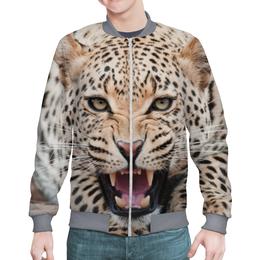 "Бомбер ""Леопард"" - взгляд, леопард, пасть, зубы, джунгли"