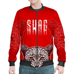 """Бомбер мужской """"swag - леопард"""" - кошки, леопард, молодежные, дизайнерские, с животными"""