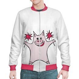 """Бомбер """"Розовый поросёнок с бенгальскими огнями"""" - арт, счастье, свин, розовый поросенок, бенгальский огонь"""