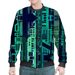 """Бомбер мужской """"""""Город будущего"""" """" - зеленый, синий, киберпанк, небоскребы, мегаполис"""