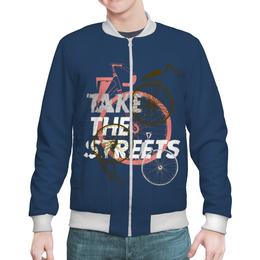 """Бомбер мужской """"Take the street """" - велосипед"""
