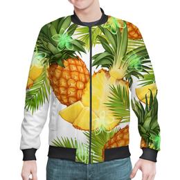 """Бомбер мужской """"Ананасы"""" - фрукты, рисунок, тропики, ананасы"""