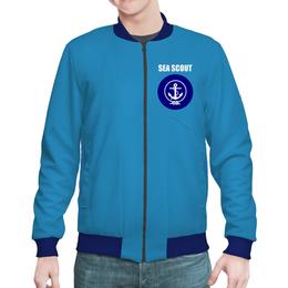 "Бомбер мужской ""Морской разведчик"" - море, якорь, канат, разведчик"