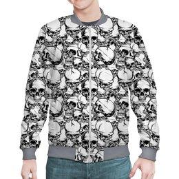 """Бомбер """"Skull Design"""" - skull, череп, скелет, абстракция, анатомия"""