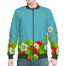 "Бомбер ""Земляничная поляна"" - лето, цветы, ягоды, земляника"