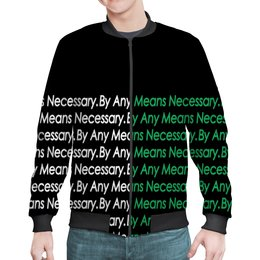 "Бомбер ""By any means necessary"" - узор, надписи, бренд, brand, by any means necessary"