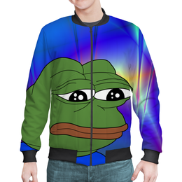 """Бомбер мужской """"SAD FROG"""" - мем, meme, грустная лягушка, sad frog, pepe frog"""