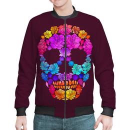 "Бомбер мужской ""Skull Art"" - skull, череп, цветы, черепа, skulls"