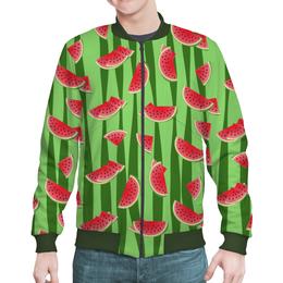 """Бомбер мужской """"Арбуз"""" - полоска, зеленый, арбуз, семена, дольки"""