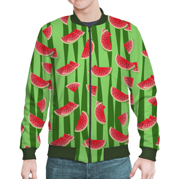 "Бомбер ""Арбуз"" - полоска, зеленый, арбуз, семена, дольки"