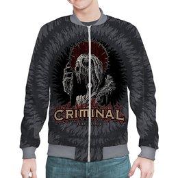 """Бомбер """"МУЗЫКА. CRIMINAL"""" - монстр, эмблема, рок-группа, стиль надпись логотип яркость, арт фэнтези"""
