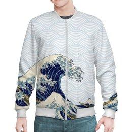 """Бомбер """"Волны Канагавы"""" - япония, волны, японский стиль"""
