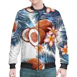"Бомбер ""Кокосы"" - фрукты, рисунок, тропики, кокосы"