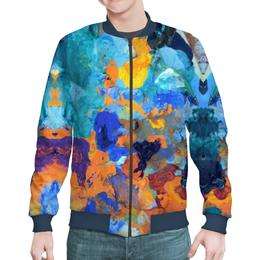 """Бомбер мужской """"""""Застывшие яркие краски"""""""" - оранжевый, голубой, искусство, разноцветный, художник"""