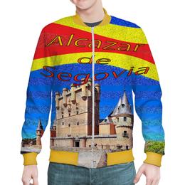"""Бомбер мужской """"Замки Испании. Замок Сеговия."""" - полоска, красный, желтый, крепость, испанский флаг"""