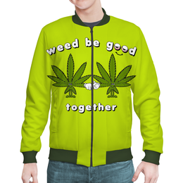 "Бомбер ""Weed be good together "" - дружба, листочки"