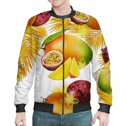 """Бомбер мужской """"Тропические фрукты"""" - фрукты, рисунок, тропики, папайя, маракуйя"""