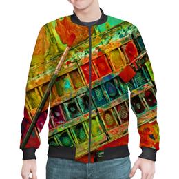 """Бомбер мужской """"""""Акварельные краски"""""""" - искусство, разноцветный, акварель, художник, пестрый"""