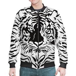 "Бомбер ""Взгляд Тигра"" - рисунок, взгляд, графика, тигр, чёрное и белое"