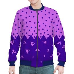 """Бомбер мужской """"Падающие треугольники"""" - сиреневый, фиолетовый, треугольник, горох, половина"""